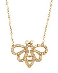 Lord & Taylor | Metallic 14k Yellow Gold Diamond Bee Necklace | Lyst