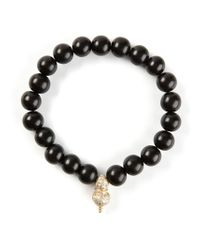 Luis Morais   Black Diamond Embellished Detail Bracelet for Men   Lyst