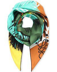 Loewe | Green Palm-print Scarf, Women's, Lagoon Blue | Lyst