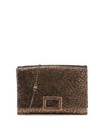 Roger Vivier - Metallic Envelope Soft Clutch Ostrich Embossed Leather Clutch Bag - Lyst