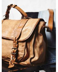 Free People | Natural Sylvana Leather Messenger | Lyst