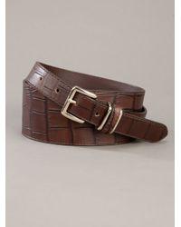 Max Mara - Brown Crocodile Printed Belt - Lyst