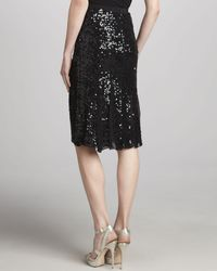 Donna Karan - Black Sequined Embroidered Skirt - Lyst
