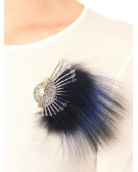 Fendi - Blue Fur and Crystal Brooch - Lyst