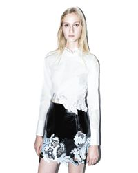 3.1 Phillip Lim - White Long-sleeve Embroidered Crop Top - Lyst