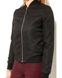 Akira Black Label - Textured Zip Front Bomber in Black - Lyst