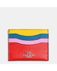 COACH | Metallic Flat Card Case In Colorblock Leather | Lyst