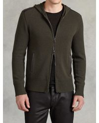 John Varvatos | Green Cashmere Zip Front Hoodie for Men | Lyst