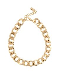 River Island | Metallic Gold Tone Chunky Curb Chain Necklace | Lyst