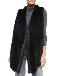 Vince | Black Sleeveless Fur Vest  | Lyst