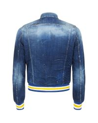 DSquared² - Blue Distressed Denim Varsity Jacket for Men - Lyst