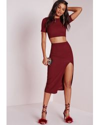 Missguided - Purple Open Back Hunsa Crop Top Burgundy - Lyst