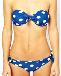 French Connection - Blue Navy White Spotted Bandeau Bikini - Lyst