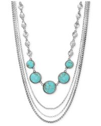 Lucky Brand - Blue Silver-tone Multi-row Stone Necklace - Lyst
