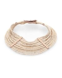 Brunello Cucinelli | Metallic River Stone, Silver & Leather Choker Necklace | Lyst