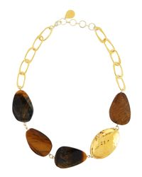 Devon Leigh | Brown Tiger's Eye Link Necklace | Lyst