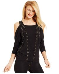 Michael Kors | Black Michael Petite Cold-shoulder Studded Top | Lyst