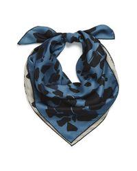 Burberry - Blue Reversible Animal Print Silk Square Scarf - Lyst