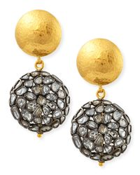 Gurhan - Metallic Bold Pastiche Round Drop Earrings With Diamond Slices - Lyst