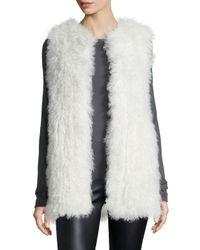 Diane von Furstenberg - White Carrie Mongolian-Fur Vest - Lyst