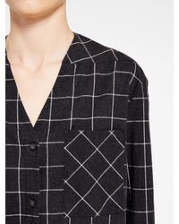 DKNY - Black Pure Checked V-neck Shirt - Lyst