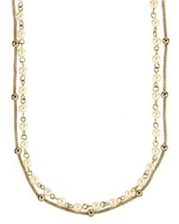 Anne Klein | Metallic Goldtone And Cream Pearl Double Strand Necklace | Lyst