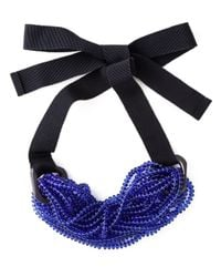 Emporio Armani | Blue Beaded Strand Tie Necklace | Lyst