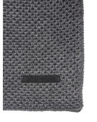 Emporio Armani | Gray Wool Blend Knit Scarf for Men | Lyst