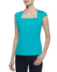 Lafayette 148 New York | Blue Giada Jersey Capsleeve Top Cove | Lyst