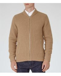 Reiss | Natural Highway Ribbed Cardigan for Men | Lyst