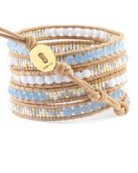 Chan Luu | Natural Periwinkle Mix Beaded Wrap Bracelet On Beige Leather | Lyst