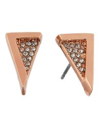 Vince Camuto | Pink Edge Of Elegance Rose Gold Crystal Triangle Stud Earrings | Lyst