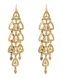 R.j. Graziano | Metallic Hammered Triangle Chandelier Earrings | Lyst