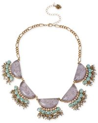 Betsey Johnson - Purple Gold-Tone Star And Cloud Cabochon Frontal Necklace - Lyst