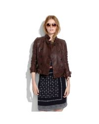 Madewell | Brown Belted Leather Bomber | Lyst