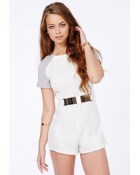Missguided | White Julieta Contrast Sleeve Belted Playsuit | Lyst