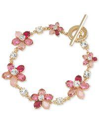 Carolee | Gold-tone Pink Floral Toggle Bracelet | Lyst
