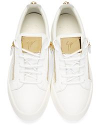 Giuseppe Zanotti - White & Gold Leather Low-top London Sneakers for Men - Lyst