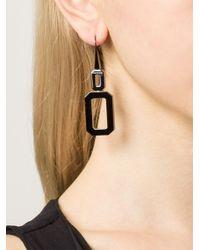Rebecca | Black 'elizabeth' Square Drop Earring | Lyst