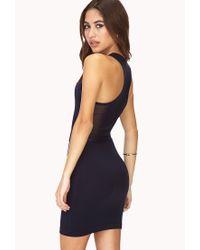 Forever 21   Blue Fresh Mesh-Trimmed Dress   Lyst