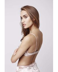 TOPSHOP - Pink Velvet And Lace Triangle Bra - Lyst