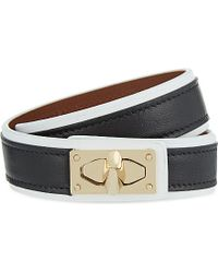 Givenchy | Shark Lock Leather Double-wrap Bracelet, Women's, Black White | Lyst