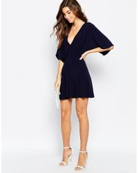 ASOS | Blue Wrap Dress In Crepe | Lyst