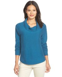Eileen Fisher | Blue Draped Turtleneck Sweater | Lyst