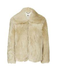 TOPSHOP - Natural Premium Toscana Sheepskin Bomber Jacket - Lyst