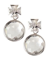 Elizabeth Showers - Metallic Maltese Cross Quartz & Sapphire Drop Earrings - Lyst