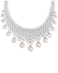 Majorica | Metallic Silver-Tone Organic Man-Made Pearl Bib Necklace | Lyst