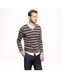 J.Crew - Gray Slim Merino Vneck Sweater in Side Stripe for Men - Lyst