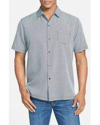 Tommy Bahama - Blue 'pacific Square' Island Modern Fit Silk & Cotton Camp Shirt for Men - Lyst