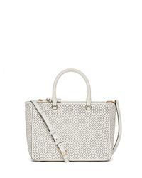 Tory Burch | White Robinson Perforated Small Multi Tote | Lyst